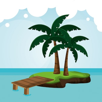 Tropicalisland pier palm tree