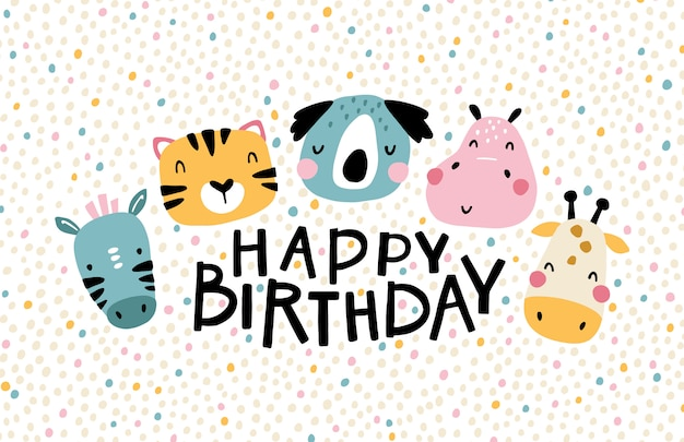 熱帯アフリカのキャラクター。誕生日おめでとう。レタリングが付いている動物のかわいい顔。北欧スタイルの保育園の幼稚なグリーティングカード。パーティー用。パステルカラーの漫画イラスト