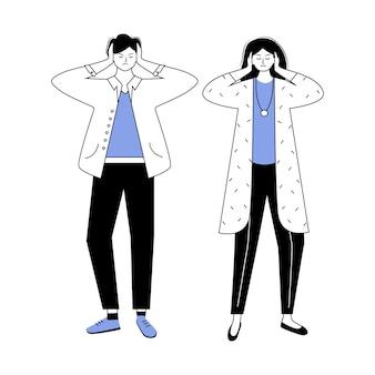 トラブル関係の青と黒の平らな輪郭ベクトルイラスト。夫婦の対立。夫婦間の誤解。結婚問題の孤立した漫画のキャラクター