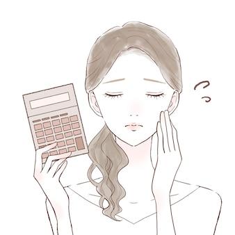 Обеспокоенная женщина с калькулятором. на белом фоне.