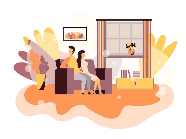 Troubles in couple vector flat design cartoon