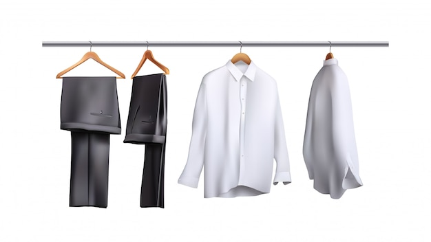 Trousers and shirts hanging