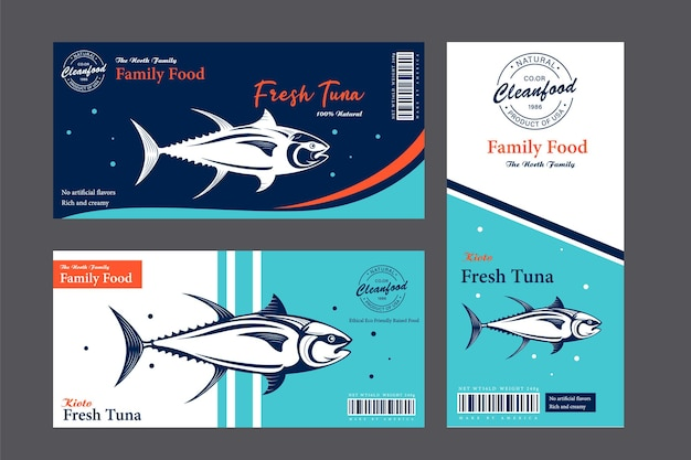 Trout labels and packaging design concepts flat style fish labels