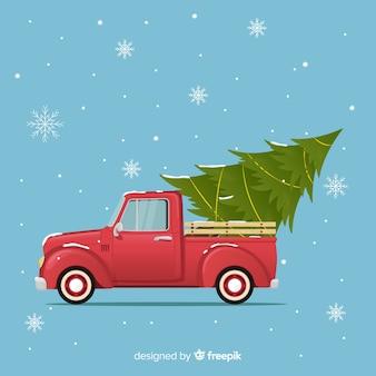 Рождественская елка на пикапе truc