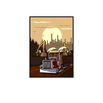 トラックと掘削機のイラストの概念