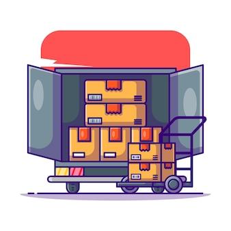 トラックとトロリーのロジスティック漫画イラスト
