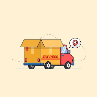 Truck car with cardboard paper box for express shipping delivery service transportation illustration