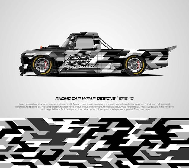 トラックカーラップ抽象的なカモフラージュデザイン
