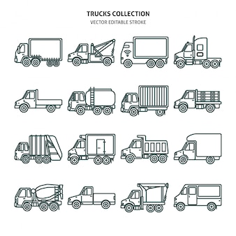 Truck cards icons set in thin line style