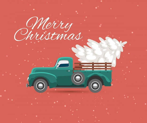 Truck carries christmas tree and snow vintage card