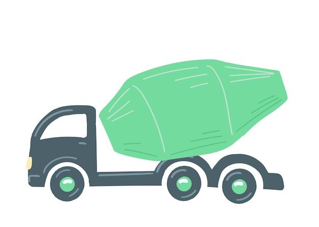 トラックコンクリートミキサー機緑の孤立した自動車建設機械手描き漫画スタイル