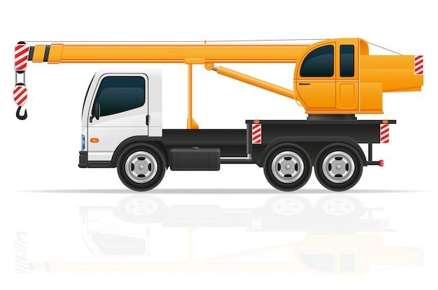 Truck crane for construction vector illustration