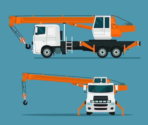트럭 크레인 세트. 측면 및 전면보기.
