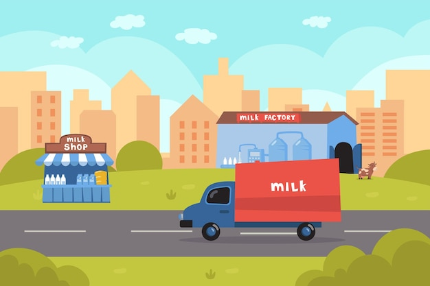 Truck delivering milk from factory  illustration. transportation on dairy products, milk shop, cow, city and buildings. milk production, dairy products, food, industry concept