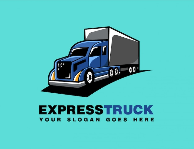 Truck delivery cartoon logo