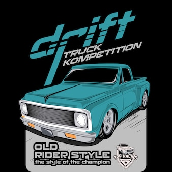 Truck drift competition, vector car illustrations