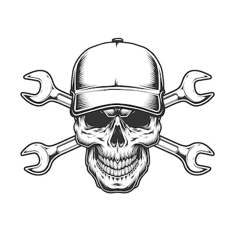 Водитель грузовика череп в бейсболке