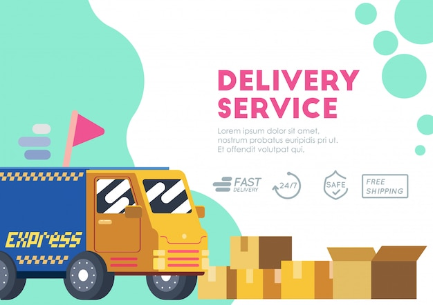 Truck express delivery service vector