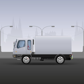 Truck for fast delivery. realistic composition in white and gray tones. city background.  illustration.