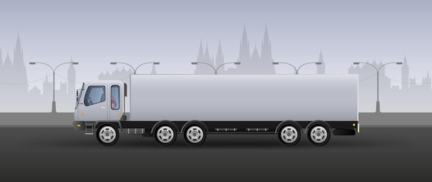 Truck for fast delivery. realistic composition in white and gray tones. city background. vector illustration.