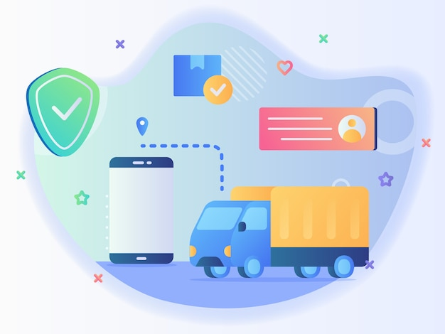 Truck following pointer location with app smart phone background box package profile receiver address shield concept of pick up delivery location with flat style vector design