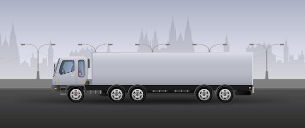 速い配達のためのトラック。白とグレーの色調でリアルな構図。市の背景。ベクトルイラスト。