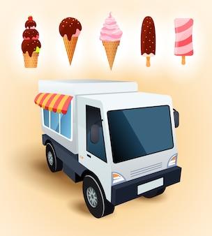 아이스크림 판매 트럭. 다양한 종류의 아이스크림. 벡터 일러스트 레이 션