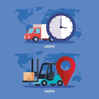 トラックフォークリフトの時計とgpsマークベクターデザイン