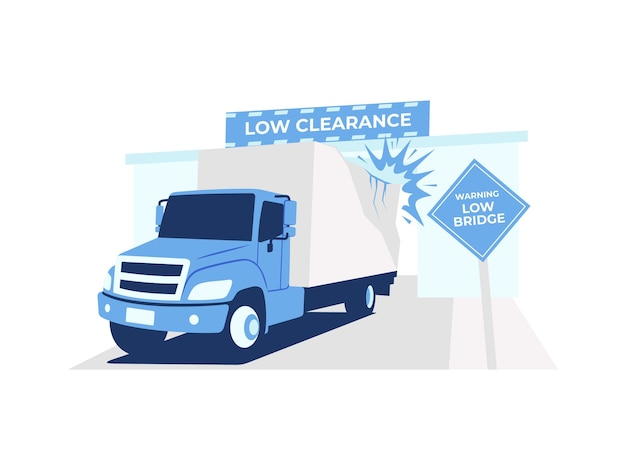 Truck gets stuck under low clearance bridge near a warning sign concept illustration