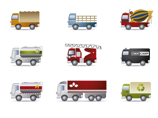 Truck icons collection
