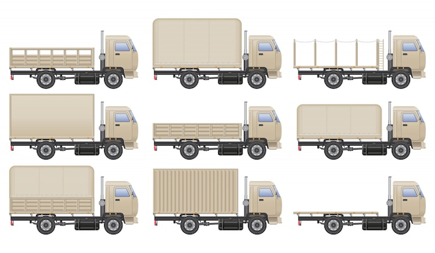 Truck illustration set isolated on white. transportation vehicle.