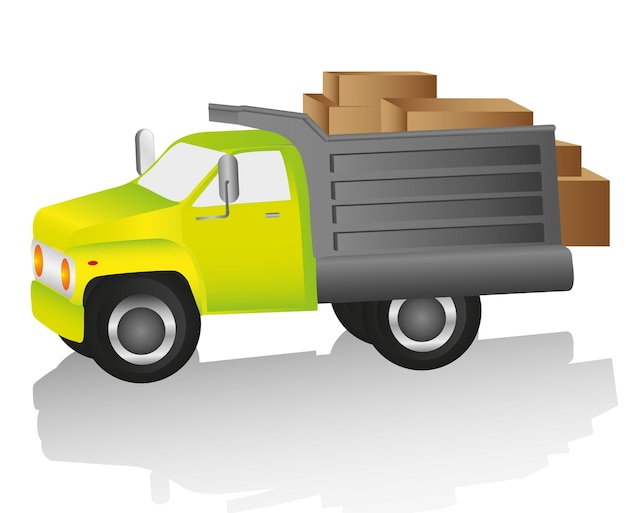 Truck loaded with boxes for deliveries vector illustration