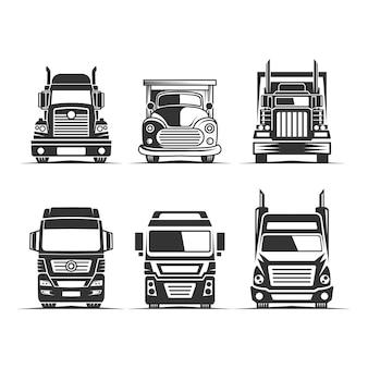 트럭 물류 벡터 실루엣 클립 아트. 배송 또는 운송 산업에 적합