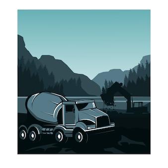 トラックミキサー、川を造る