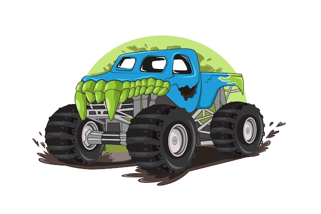 Truck monster character illustration vector