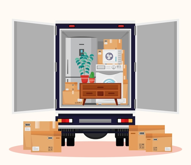 Truck and moving objets  illustration