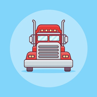 トラックまたは貨物輸送のフラットラインアイコン。