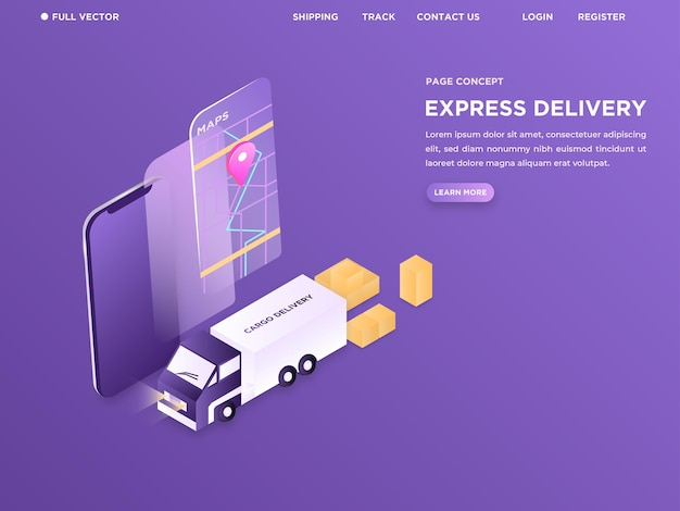 Truck packaging the boxes using online map in modern landing page for courier website 3d isometric