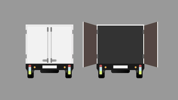 Truck rear view closed and open truck illustration