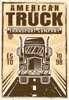 Truck on road vector advertising poster in vintage