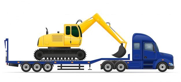 トラックセミトレーラー配送と建設機械概念ベクトル図の輸送