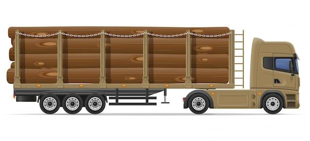 Грузовик полуприцеп доставки и перевозки строительных материалов концепции векторные иллюстрации