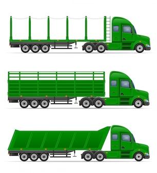 Truck semi trailer for transportation of goods vector illustration