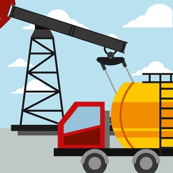 트럭 유조선 수송 펌프 석유 산업 벡터 일러스트 레이션