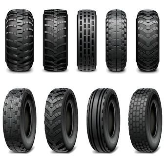 Truck and tractor tires isolated on white