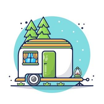 トラックトレーラーキャンプイラスト。リラックス、自然、テント、休暇。フラット漫画のスタイル