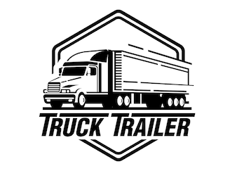 Truck trailer logo illustration on white background