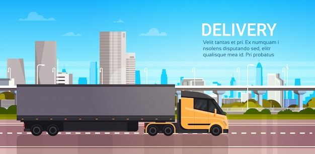 Truck trailer on road over modern city delivery and fast logistics transportation concept