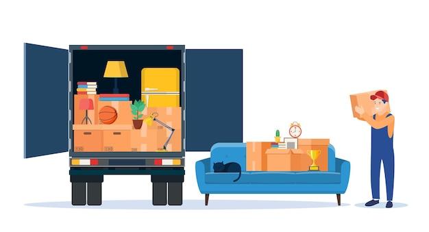 Truck for transportation of goods Premium Vector