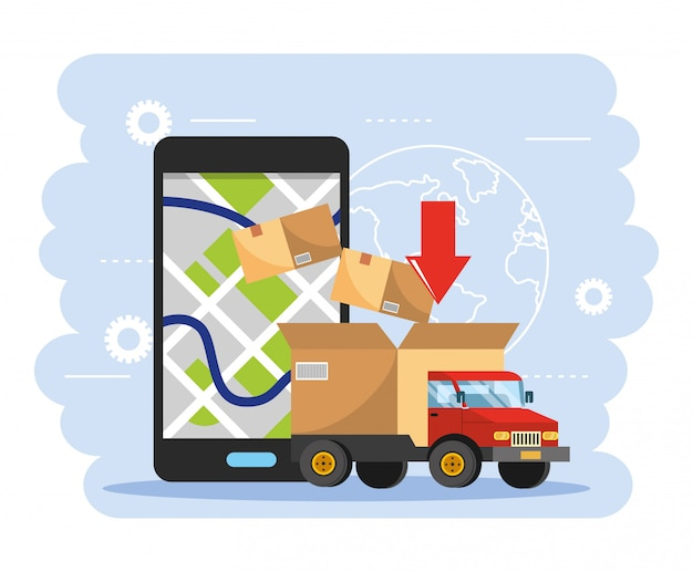 Truck transportation with box package and smartphone gps map